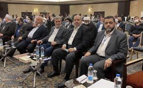 جانب من وفد قيادة حركة حماس المشارك في مؤتمر الوحدة الإسلامية في طهران