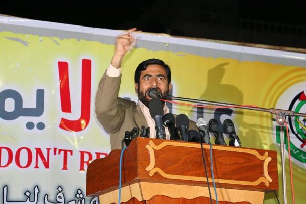 القيادي في حركة حماس مشير المصري خلال كملته في المسيرة