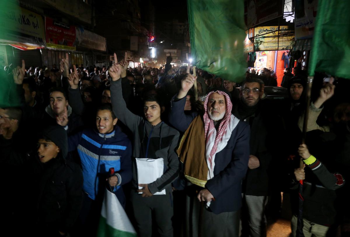 مسيرات لحركة حماس ابتهاجاً بعملية الدهس في القدس