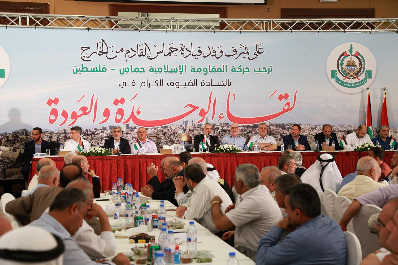 خلال لقاء الوحدة والعودة الذي نظمته حركة حماس على شرف وفد قيادة المكتب السياسي القادم من الخارج