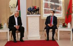 Ismail Haniyeh, Head of Hamas Political Bureau during a joint press conference with Dr. Saadeddine Othmani, Morocco Prime Minister, and Chairman of the Justice and Development Party